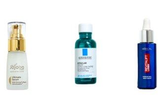 Jojoba Ultimate Serum, $70.  La Roche-Posay Efflaclar Serum, $60. L'Oréal Paris Revitalift Laser Pure Retinol Night Serum, $31.