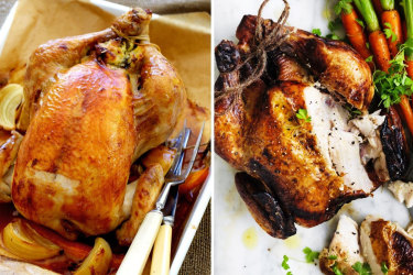 Adam Liaw's roast chicken with bread and butter stuffing (left) and secret recipe roast chicken.