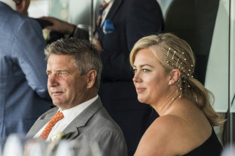 Richard Lavender and Samantha Armytage enjoying themselves at Royal Randwick during The Everest.