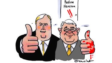 Inside Canberra's latest scoop speaks highly of Clive Palmer's Senate candidate and former One Nation man Brian Burston. Illustration: Matt Golding
