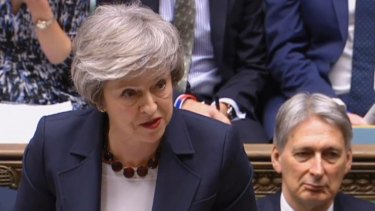 Britain's Prime Minister Theresa May speaks during Prime Minister's Questions in the House of Commons, London.