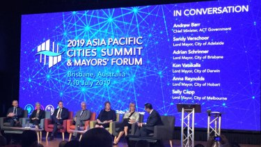 The 2019 Asia Pacific Cities Summit lord mayors panel on Wednesday in Brisbane.