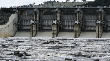 Water being released down the spillway at Wyangala Dam in 2016.