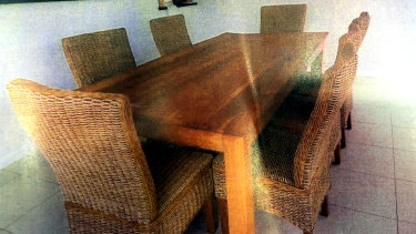 The prosecution during the trial had alleged the incident occurred at this table with a table cloth over it. Mr Jeffery's wife testified she'd never used a tablecloth.