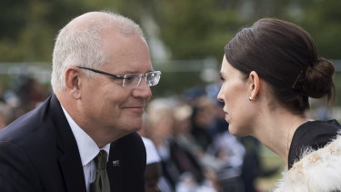 Prime Minister Scott Morrison with New Zealand PM Jacinda Ardern during the national remembrance service for the victims of the March 15 attack.