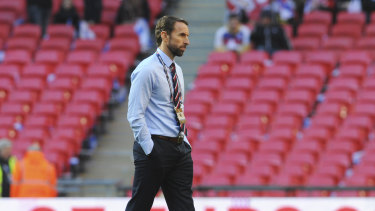 Gareth Southgate, seen here pre-match at Wembley, is thrilled with England's performance over the past year.