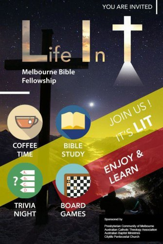 Melbourne church leaders noticed this poster being handed out by Shincheonji recruiters. 'Presbyterian Community of Melbourne' and 'CityLife Pentecostal Church' in the bottom right are not official groups.
