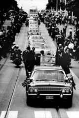 United States President Lyndon B Johnson motorcade through Melbourne. 1966.