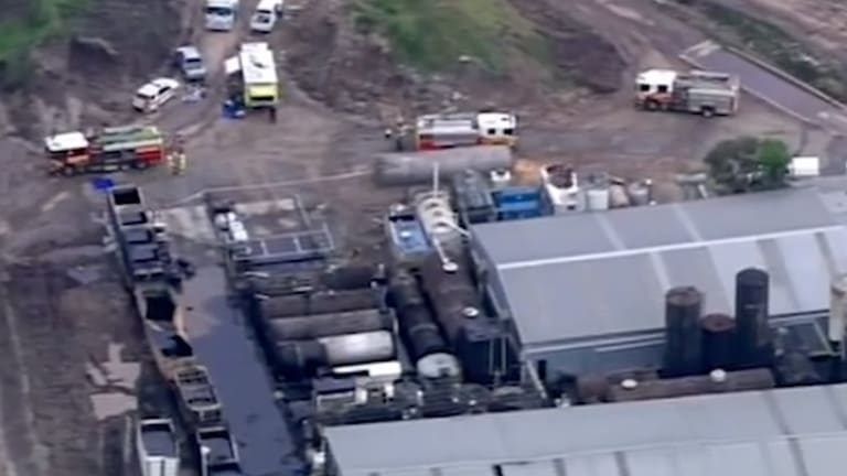 The aftermath of the Yatala factory explosion in November 2015 which claimed the life of a worker.