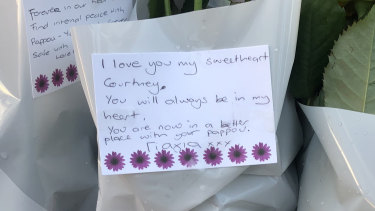 Tributes left in Royal Park by Ms Herron's family.