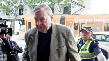 Cardinal George Pell arrives at Melbourne Magistrates Court on Tuesday.