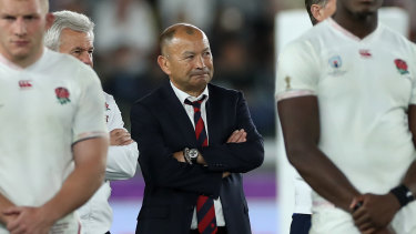 Eddie Jones looks on after England's 32-12 loss to South Africa in the Rugby World Cup final.