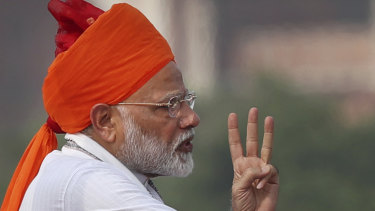 Indian Prime Minister Narendra Modi addresses to the nation on the country's Independence Day from the ramparts of the historical Red Fort in New Delhi, India, last month.