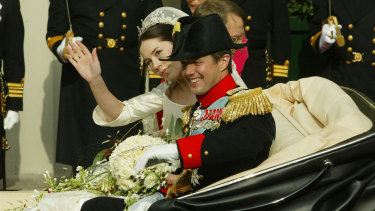 Mary Donaldson, Crown Princess of Denmark, and Crown Prince Frederik after their wedding at Copenhagen Cathedral, May 14, 2004.
