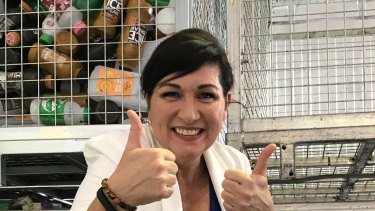 Environment Minister Leeanne Enoch gives Queenslanders the thumbs up in November 2019, when the state surpassed 1 billion recycled containers.