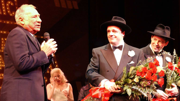<i>The Producers</i>'producer Mel Brooks, left,  addresses the audience at New York's St. James Theatre as Nathan Lane, second left, and Matthew Broderick look on after their last performance in their first run in <i>The Producers</i> in 2002.