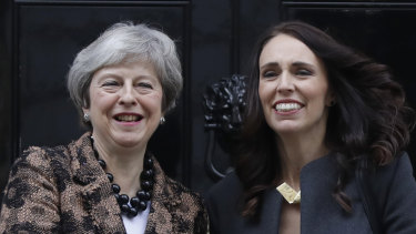 Britain's Prime Minister Theresa May, left, welcomes New Zealand's Prime Minister Jacinda Ardern to Downing Street.