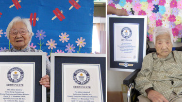 This combination of two undated photos released by Guinness World Records show sisters Umeno Sumiyama, left, and Koume Kodama at separate nursing homes in Shodoshima island, left, and Oita prefecture, Japan.