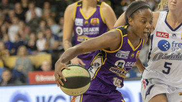 On guard: Boomers' star import Lindsay Allen.