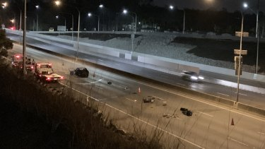 Northbound lanes of the Pacific Motorway was closed for hours overnight.