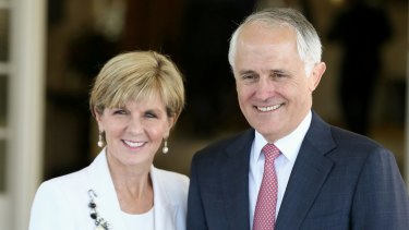 Julie Bishop and Malcolm Turnbull after the 2015 leadership spill that toppled Tony Abbott.