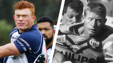 Tane Edmed playing for Eastwood and father Steve Edmed playing for Balmain in the NSWRL grand final in 1989.