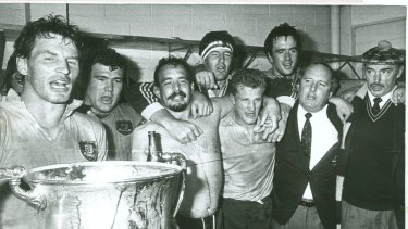 Distant memory: Alan Jones (second from right) and the Wallabies celebrate Australia's last victory at Eden Park in 1986.
