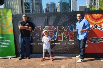 Anthony Mundine, good friend and MGM business partner Gosh Daher and Gosh's son Jayden on Friday.