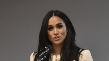 Meghan, Duchess of Sussex, speaks during a school assembly in London, last year.