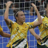 Bring it on: Caitlin Foord (centre) scores against Brazil.