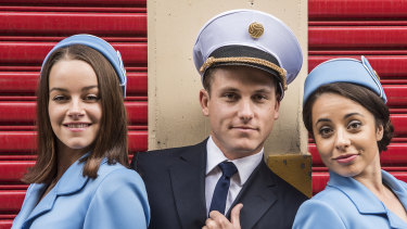 Jake Speer, pictured with Erica Stubbs (left) and Monique Salle, is ready to fly in the musical Catch Me If You Can.
