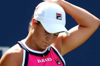Ashleigh Barty during her fourth round loss to Qiang Wang at the US Open.