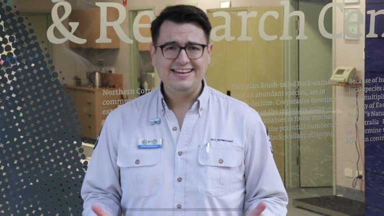 Mix 106.3 newsman David Sharaz pretends to be ranger Brett McNamara in the video.