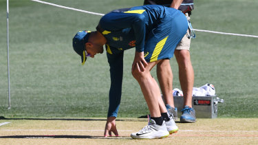 Nathan Lyon inspects the Adelaide Oval pitch on Wednesday.