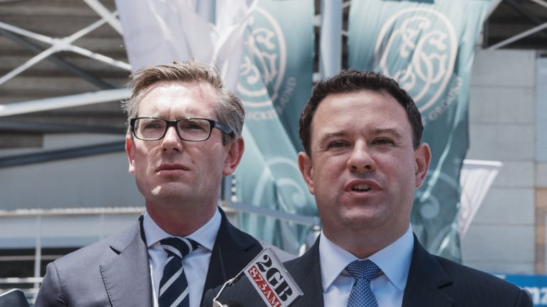 NSW Treasurer Dominic Perrottet and Minister for Sport Stuart Ayres discuss the demolition of the stadium.