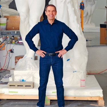 "Jeff Koons in his New York studio. After meeting Salvador Dali in New York at age 18, Koons remembers thinking of his future art career: ""This is a way of life, and I believe I can do this."""