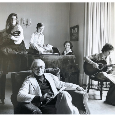 Living for music: writer David Leser (on guitar) in his family's London home in 1976, with mother Barbara, brother Daniel, sister Deborah and father Bernard.