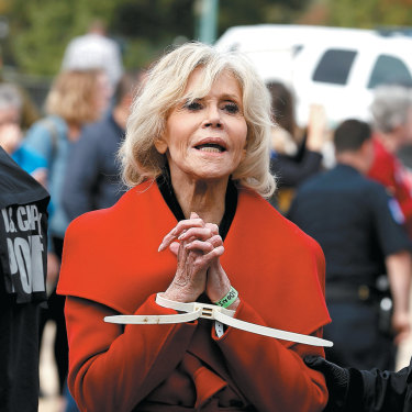 Fonda has been arrested five times at Fire Drill Friday protest rallies, a peaceful civil disobedience movement inspired by Greta Thunberg's Fridays for Future.