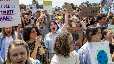 Young people protesting for climate action last year.