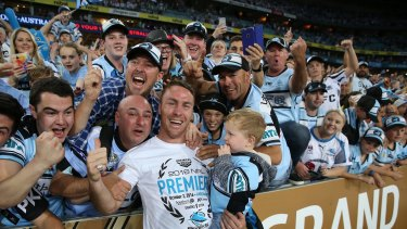 James Maloney with Cronulla fans after winning the 2016 grand final.