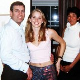Prince Andrew pictured with Virginia Giuffre at the home of Ghislaine Maxwell (right) in London in 2001.