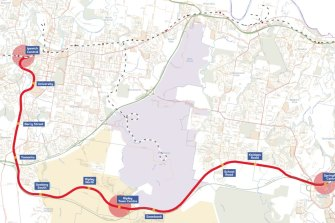The proposed Ipswich Central to Springfield Central public transport corridor showing nine stations over a 25 kilometre route.