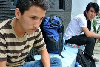 """Sardar """"Samie"""" Hussein, camped out in front of the UNHCR building in Jakarta in 2014."""