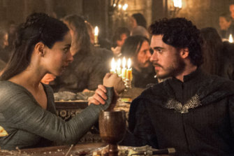 Robb Stark (Richard Madden) and Talisa (Oona Chaplin) in the infamous red wedding episode in Game of Thrones.