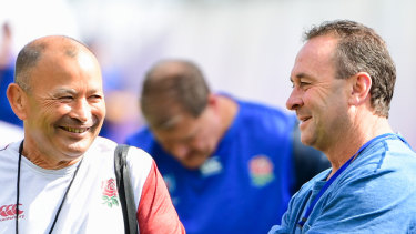 England coach Eddie Jones with Canberra NRL coach Ricky Stuart in England camp in Oita.