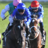 Tim Clark holds all challengers at bay on Samadoubt in the Chelsmford Stakes a fortnight ago.