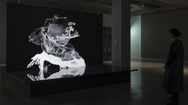 Installation view, The Otolith Group: Xenogenesis, Buxton Contemporary, with Sovereign Sisters, 2014 (still), courtesy of The Otolith Group and LUX, London, © the artists.