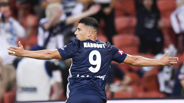 Nabbout celebrates his goal.