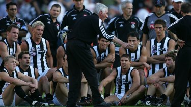 Collingwood coach Mick Malthouse tries to rev up the 'troops' during a 2005 Anzac Day clash with Essendon.