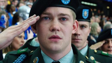 Joe Alwyn, portraying Billy Lynn, in a scene from the film Billy Lynn's Long Halftime Walk.